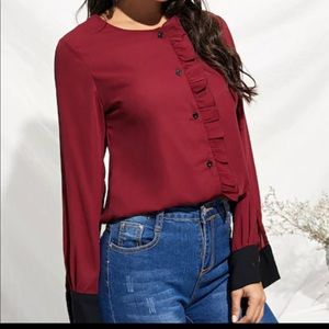 Long Sleeves Ruffle Button Down Top Blouse